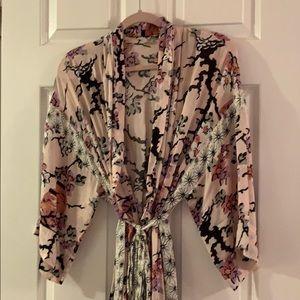 Free People Kimono Robe in Pink Floral Print